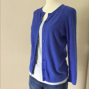 LOFT indigo blue cotton slub knit cardigan